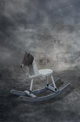 Rocking Horse (Cat Girl 007) Tags: childhoodmemories concept horse memories photomanipulation rocking rockinghorse surreal toy wooden woodenhorse vertical whimsical horsingaround