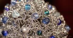 Synapse (Vanessa wuz Here) Tags: 90mm macro macromadness wire beads glass ornament silver blue copyrightvanessabartosek