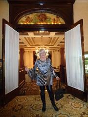 Welcome! (Laurette Victoria) Tags: laurette woman dress leggings boots blonde purse hotel milwaukee pfisterhotel