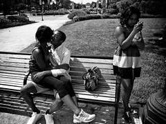 first base (David Oakill) Tags: philadelphia affection bw bench blackandwhite candid city date kids kissing logansquare noir oakill park photography street streetphotography urban
