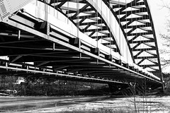 Thaddeus Kosciuszko Bridge (fotofish64) Tags: bridge thaddeuskosciuszkobridge twinbridges northway adirondacknorthway albanycounty saratogacounty halfmoon colonie metalbridge pattern river mohawkriver riverice winter capitaldistrict newyork outdoor traffic blackandwhite highcontrastmonochrome monochrome pentax pentaxart kp kmount da35mmf24 primelens