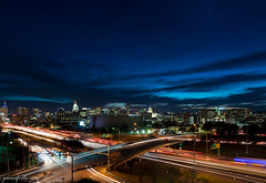 Downtown Austin Texas after sunset (Jason Frels) Tags: austin austintexas austindowntown evening ih35 nikon nikond750 austinatnight austincityscape city cityphotography cityscape interstate35 landscape sunset texas traffic urban