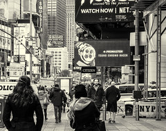 Pedestrian Flow Zone Mono (PAJ880) Tags: manhattan times square mono pedestrians signs adverts crowd control bw urban new york city