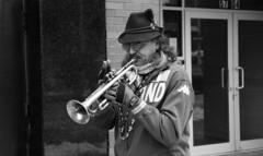 Sunnyside/Woodside St. Pat's For All Parade (neilsonabeel) Tags: nikonn90s nikon nikkor blackandwhite parade horn trumpet film analogue stpatsforall queens newyorkcity
