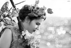 the girl of the arbor (dim.pagiantzas | photography) Tags: arbor vineyard costume woman people model face sea seascape bokeh environment light ambient sunny beauty grayscale monochrome blackandwhite hair plant nature