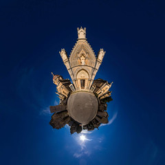 Cimitero Comunale - public Graveyard (HamburgerJung) Tags: sicily sicilia sizilien graveyard friedhof cimitero siracusa syrakus sonne panorama pentax da1017 hugin freihand freehand planet littleplanet stereographic