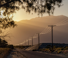 Silver Threads And Golden Needles (skram1v) Tags: silica particles silver powerline sanddrifts country road mountains goldehour palmdesert california march2019