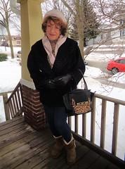 Not Too Bad Out When One Is Bundled Up (Laurette Victoria) Tags: winter snow woman laurette leggings coat hat scarf purse gloves porch