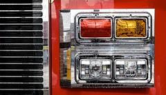 Fire Engine Lights (Karen_Chappell) Tags: red orange metal steel truck transportation lights vehicle newfoundland nfld stjohns silver grill black light colourful colours