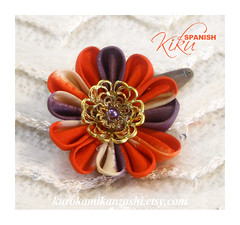 Spanish Kiku (Kurokami) Tags: lindsay ontario canada kimono japan japanese asia asian woman women girl girls lady ladies traditional kitsuke tsumami kanzashi hair ornament ornaments clip folded flower flowers floral spanish kiku chrysanthemum orange purple gold golden bead cap faux pearl duck