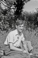 Man relaxing in the sunshine (vintage ladies) Tags: vintage blackandwhite photograph photo man male sitting smile smiling countryside