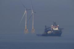 "at 600mm: on a sleep, hazy, summer afternoon an oil supply vessel passes in front of majestic wind turbines, viewed from Torry Point, Girdle Ness, Aberdeen, Scotland (grumpybaldprof) Tags: canon 7d ""canon7d"" sigma 150600mm f563 ""dgoshsmsport"" ""sigma dgoshsmsport"" aberdeen aberdeenshire scotland uk ""siorrachdobardheathain"" ""aberdeencity"" ""granitecity"" grampian ""beautifulcity"" ""northeastscotland"" ""girdlenesslighthouse"" 1833 ""girdleness"" ""greyhopebay"" ""torrypointbattery"" ""foghorn"" lighthouse ""aberdeenport"" torry northsea aberdeenbay oil pertoleum supplyships ship ""aberdeenbaywindfarm"" ""europeanoffshorewinddeploymentcentre"" eowdc offshore windfarm windturbines ""offshorewindfarm"" turbines blackdog ""bridgeofdon"" peaceful hazy summer afternoon dreamy marine"