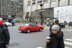 Valentine's Day (Flint Foto Factory) Tags: chicago illinois urban city winter february 2019 downtown loop valentines day 1991 1992 1993 1994 mercury capri convertible roadster australia australian import red traffic moving motion inmotion morning am rushhour worldcars