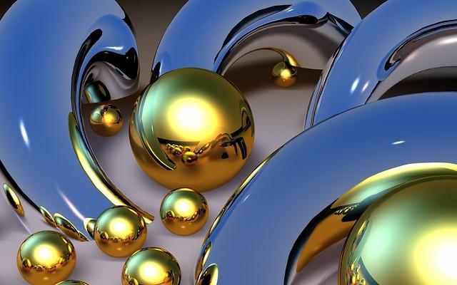 Обои шары, узоры, метал, золото, 3d картинки на рабочий стол, фото скачать бесплатно