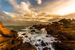 Phare Ouest (yann2649) Tags: ploumanach côtesdarmor brittany bretagne seascape coastline wave storm clouds cloudscape dramaticsky rock granitrose mer coast côtes yellow goldenhour sunset sunrise heavywave