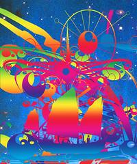 Star Ship (ICARUSISMARTDESIGNS) Tags: sailing fantasy abstract ship sciencefiction trendy vintage art cool retro digital digitalpainting sea ocean color vivid geek design patterns stars universe suns cosmic psychedelic modern inspirational imagination travel waves nature journey red blue