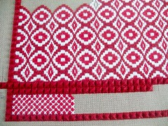 moving along (Martha-Ann48) Tags: kneeler cushion tapestry red white stitches pattern embroidery rhodes