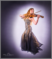 Helen - on the fiddle (Peter R. Howard) Tags: portrait lady model violin musician ballgown studio performing performance