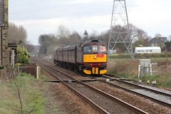 WCR BLS 1Z87 'The Ruby Vampire - 2nd Bite' railtour passes Frog Lane crossing at Hoscar  24th  March 2019 with BRCW Crompton Type 3 No. 33029© (steamdriver12) Tags: wcr bls 1z87 the ruby vampire 2nd bite railtour passes 24th march 2019 brcw crompton type 3 no branch line society west coast railways lancashire england diesel electric heritage traction frog lane level crossing hoscar 33207