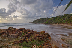 320A3220 First Bay Coolum (Leeds Lad at heart) Tags: timeexposure australia sunshinecoast coolum beach sand cliffs rocks dawn green forest trees sky clouds sea ocean water tide waves bay seascape landscape