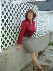 """More Of """"Secretary Laurette"""" (Laurette Victoria) Tags: laurette auburn blouse satin skirt woman secretary"""