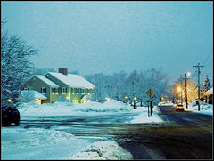 The Lowell Five Bank In Wintertime - Photo Taken by STEVEN CHATEAUNEUF On January 24, 2015 - Editing Was Done On April 5, 2019 (snc145) Tags: winter seasons sky dusk trees building snow road photo editedimage outdoor landscape scenery chelmsford massachusetts usa january242015 april52019 stevenchateauneuf thelowellfivebank flickrunitedaward