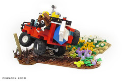 West Coast Willy (Pixel Fox) Tags: lego 4x4 offroad land rover flower spring vignette moc diorama