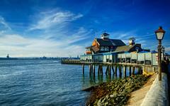 Seaport Village in San Diego, California (` Toshio ') Tags: toshio sandiego california seaportvillage bay sandiegobay sandiegopiercafe restaurant cafe lamppost boardwalk usa fujixt2 xt2