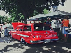 Red Wagon (novice09) Tags: backtothefifties carshow chevrolet 1961 stationwagon streetrod ipiccy