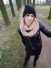 New Years Stroll ! (Sometimes Emma) Tags: crossdresser genderfluid tgirl tranny transvestite hat hair makeup leather jacket mini skirt tights thighboots fun happy