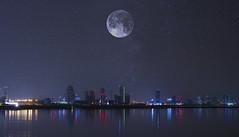 Moon Over Manama (Hamza_Reda) Tags: bahrain manama moon sky night canon nature photography blue stars 750d landscape bulding