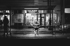 lessons in solitude (Zesk MF) Tags: bw black white mono zesk cologne x100f fuji street candid lonely solitude woman alone sitting night station strase