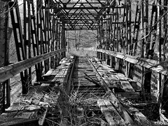 Abandoned RR Bridge (George Neat) Tags: blackwhite bw abandoned railroad trestle bridge dunkard creek industry buildings structures bobtown greene county pa pennsylvania georgeneat patriotportraits neatroadtrips forgotten
