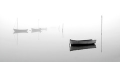 Mist the Boat (Solent Poster) Tags: pentax k1 2470mm mist fog harbour dinghies boats moody mono bw