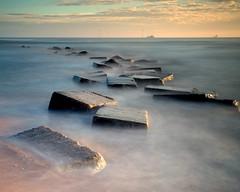 Fallen Warriors (PeskyMesky) Tags: aberdeen aberdeenbeach riverdon longexposure water sea ocean bridgeofdon tanktrap sunrise sunset canon canon5d eos
