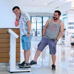 No wonder nothing fits when I was shopping (khoo Hui) Tags: people happy weigh man bearded twins edited fun