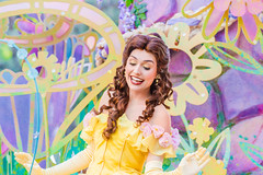 Belle (EatThisLight) Tags: disney disneyland themepark california ca parade soundsational magic smile girl color lovely princess disneyprincess royalty fantasy belle beauty beautyandthebeast flowers character facecharacter disneycharacter