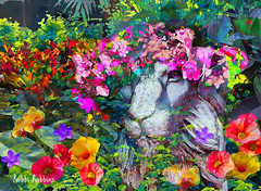 Queen Of The Jungle (brillianthues) Tags: lion flowers jungle nature garden floral colorful collage photography photmanuplation photoshop