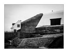 La cohabitation reste un mystère même en temps de paix. (Scubaba) Tags: europe france pasdecalais noirblanc noiretblanc bw blackwhite flou blur maison house blockhaus bunker
