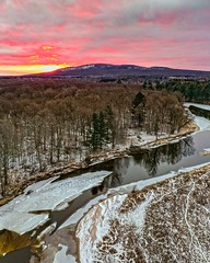 Rib Mountain + Rib River (Daniel000000) Tags: mountain mountains sunrise sunrises sky clouds art new old winter snow water ice cold pink tree trees forest woods park wausau wisconsin midwest nature landscape dji mavic 2 pro drone uav northwoods north up home fun shadows reflections frozen outside outdoors white light sun cloud yellow river orange explore adventure travel