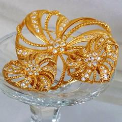 Avon Jewelry. Large Gold and Clear Rhinestone Heart Brooch.  Avon. Pinwheel Clear Rhinestone Gold Heart Pin. waalaa. (waalaa) Tags: etsy vintage antique shopping jewelry jewellery gifts wedding