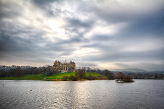 """dominating its loch under a moody winter sky with the sun breaking through, Linlithgow Palace, Linlithgow, West Lothian, Scotland (grumpybaldprof) Tags: """"linlithgowpalace"""" linlithgow """"westlothian"""" scotland """"monarchsofscotland"""" palace castle """"thepeel"""" """"14thcentury"""" """"edwardi """"jamesi"""" """"churchofstmicheal"""" 1414 1302 """"jameshamiltonoffinnart"""" """"maryqueenofscots"""" 1512 fountain """"bonnyprincecharlie"""" 1746 """"dukeofcumberland"""" destroyed """"linlithgowloch"""" loch water lake scottish """"fineart"""" ethereal striking artistic interpretation impressionist stylistic style contrast shadow bright dark black white illuminated mood moody atmosphere atmospheric colour colours steeple canon 7d """"canon7d"""" sigma 1020 1020mm f456 """"sigma1020mmf456dchsm"""" """"wideangle"""" ultrawide"""