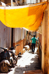 Man & Cow in Alley, Varanasi India (AdamCohn) Tags: adam cohn ganga ganges india uttarpradesh varanasi alley cow man streetphotographer streetphotography wwwadamcohncom adamcohn