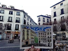 I have been told that God probably wants me here -again: (aniuswalker) Tags: madrid watercolor urbansketch urbansketcher watercolorurbansketch sketch city street square madridcity tribunal malasaña