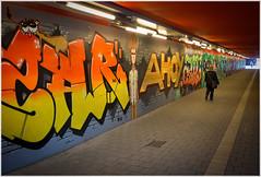 Urban Art (kurtwolf303) Tags: hamburg stadt city germany persons people underpass unterführung graffiti kurtwolf303 omd mft olympusem5 microfourthirds pedestrians fusgänger colors unlimitedphotos streetphotography