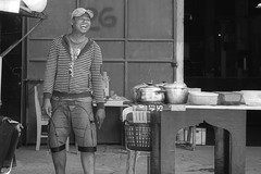Happy Man (Beegee49) Tags: street man laughing food cooking blackandwhite monochrome bw luminar sony a6000 bacolod city philippines asia