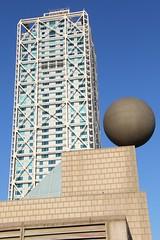 Precarious (David K. Edwards) Tags: sphere sculpture barcelona catalonia spain olympic port dock harbor