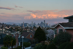 Magnolia Sunset Views 17 (C.M. Keiner) Tags: seattle washington usa city cityscape skyline mountains pacific northwest puget sound sunset magnolia hills clouds spring cherry blossoms