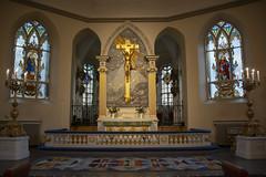 Altar (Rudi Pauwels) Tags: 2019onephotoeachday tyskakyrkan deutschegemeindegoteborg altar highiso inside windows stainedwindows cross candles