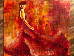 Art Prize Entry 2 (dhdyksterhouse) Tags: paint abstract acrylic acrylicpainting art artist blocks red yellow orange woman women strength empowerment dress design clothing fashion blend blending